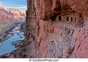 The Nankoweap granary is set in an alcove high above the Colorado River.
