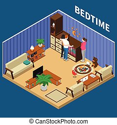 Nanny Child Bedtime Isometric Composition - Nanny and...
