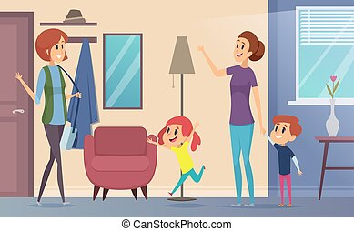 Nanny. Joyful preschool kids invite babysitter teacher and playing together in childrens room vector cartoon background
