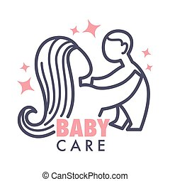 Nanny service isolated icon mother and baby pink heart...