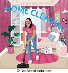 Nanny vacuums children room - Obedient girl vacuums her pink...