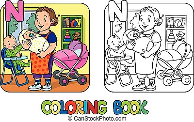 Nanny with children coloring book. Alphabet N