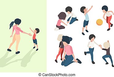Nanny with kids. Preschool teacher playing toys and teaching happy children babies care vector isometric people
