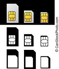 nano, adapter, standard, mikro, vektor, karte, sim
