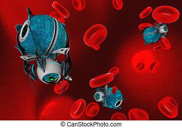 Nano robot 3D render. Medical concept future.