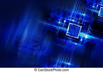 Nano Technology - Processors and Circuit Board. Cool Blue...