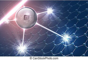 Nanorobot on the molecular structure - Vector illustration...
