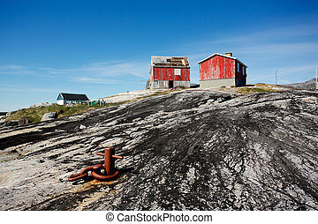 Nanortalik city in South Greenland.