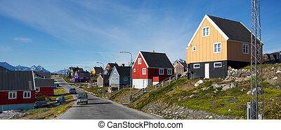 Nanortalik - Colorful buildings in Nanortalik city in South...