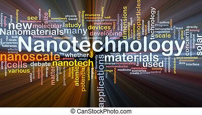 nanotechnologie, concept, gloeiend, achtergrond
