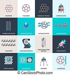 Nanotechnology applications products flat icons set -...