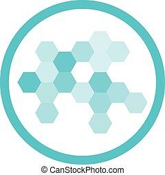 Nanotechnology Blue Round Icon - Nanotechnology cell...