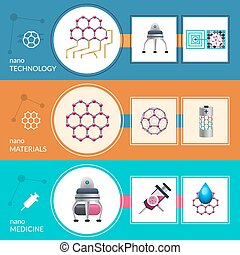 Nanotechnology concept 3 flat banners set - Modern...