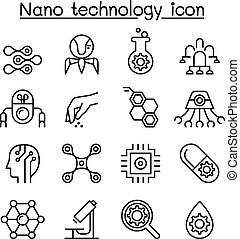 Nanotechnology icon set in thin line  style