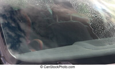 Nanotechnology on car glass, fast dry after wet window, from...