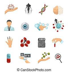 nanotechnology, set, colorato, icona