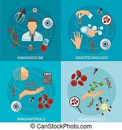 nanotechnology, set, icona