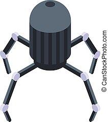 Nanotechnology spider icon, isometric style