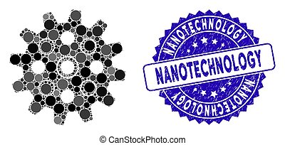 nanotechnology, textured, icona, francobollo, mosaico, gearwheel