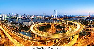 Nanpu Bridge at night