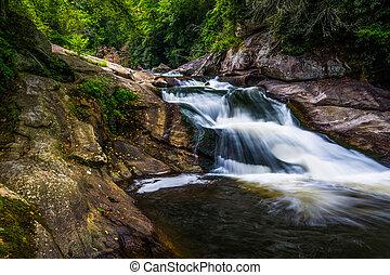 nantahala, nacional, n, bosque, cascada, río, cullasaja