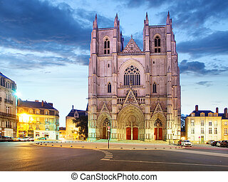 Nantes city in France - Sunset view on the saint Pierre ...