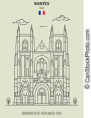 nantes, s., france., señal, catedral, paul, peter, icono