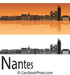 Nantes skyline in orange background in editable vector file
