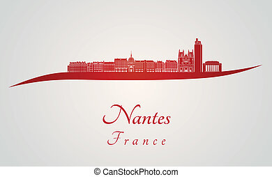 Nantes skyline in red and gray background in editable vector...