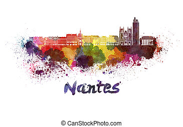 Nantes skyline in watercolor splatters with clipping path