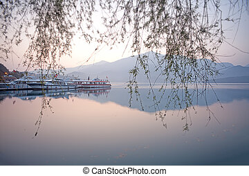 nantou, שמש, אגם, ירח, זריחה, טייוואן