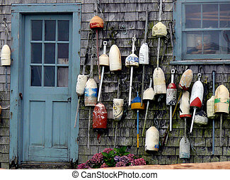 Nantucket Bouy House - collection of bouys tacked onto an ...