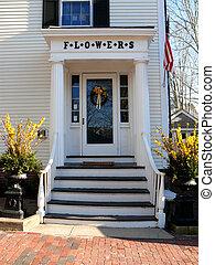 front door - nantucket flowers with front door and flower...