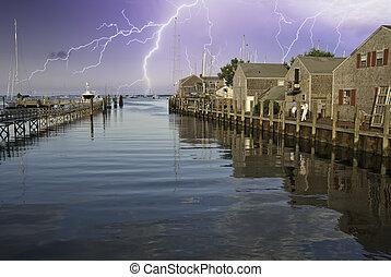 nantucket, port, orage, approchant