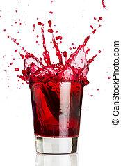 napój, czerwony, bryzg