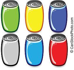 napój, komplet, puszki, barwny