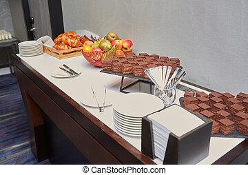 napój, konferencja, handlowy, owoc, świeży, złamanie, seminarium, piekarnia, stół, catering, kawa