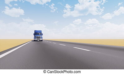 napędowy, opróżniać, pustynia, droga, wózek, fracht, 3d