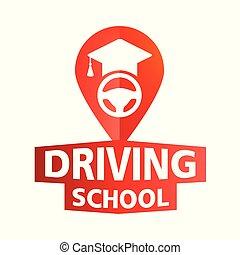 napędowy, szkoła, wóz, temat, wektor, logo
