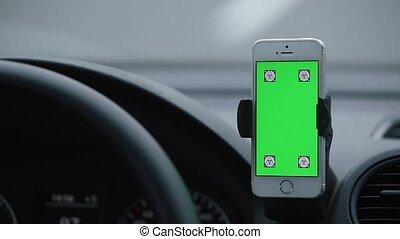 napędowy, wóz, ekran, telefon, znowu, zielony