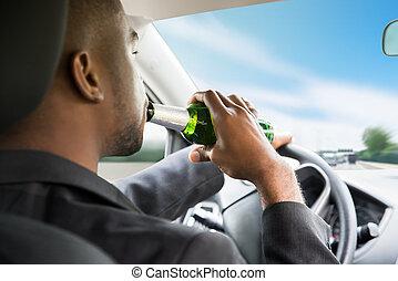 napędowy, wóz, piwo, znowu, biznesmen, picie