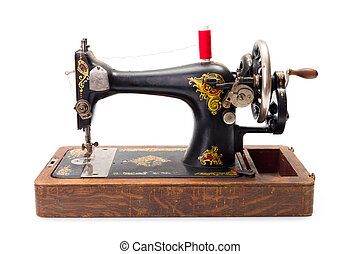 napędzany, maszyna, szycie, stary, ręka