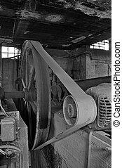 napędzany, mechanizm, opuszczony, pasek, fabryka