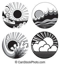 nap, és, tenger, waves., vektor, fekete, fehér, grafikus,...