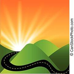 nap, út, hegyek