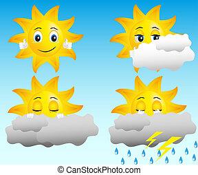 nap, alatt, különböző, időjárási viszonyok
