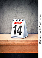nap, concept., naptár, 14, kedves, hivatal asztal, február