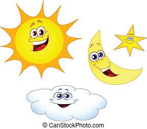 nap, csillag, felhő, hold