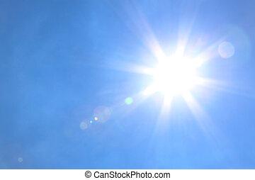 nap csillogó, noha, kék ég