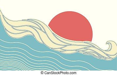 nap, elvont, vektor, tenger, lenget
